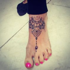 Mandala Tattoo On Left Foot by David Torres