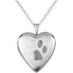 Silver-Plated Brass Heart-Shaped Paw Print Locket Pendant