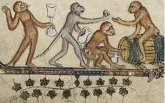 ape party! Apes often figure in manuscript margins. Apes were often used to satirise human foibles.