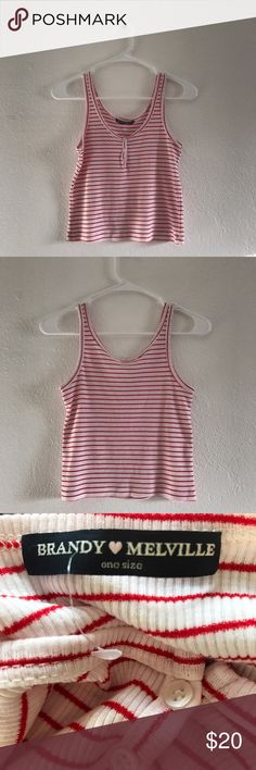 Brandy Melville Striped tank top True color is 3rd picture. Fits xs-s. Stretchy fabric. | NWOT Brandy Melville Tops Tank Tops
