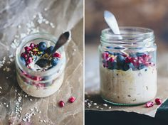 Raw buckwheat porridge - with berries, cocoa, coconut flakes and nut butter