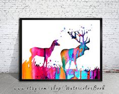 Deer Love Watercolor Print, deer art, watercolor painting, animal art, Illustration, home decor wall art,  watercolor animal, deer poster