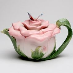 Cosmos Gifts 20853 Butterfly on Rose Teapot Ceramic 5 1 2 Inches High Tea Cup Saucer, Tea Cups, Pink Rose Flower, Teapots And Cups, Ceramic Teapots, Chocolate Pots, Hand Painted Ceramics, Ceramic Painting, Tea Party