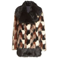 Marc Jacobs Faux Fur Coat ($1,705) ❤ liked on Polyvore featuring outerwear, coats, multicolored, retro coat, multi colored faux fur coat, double breasted coat, colorful coat and faux fur coat