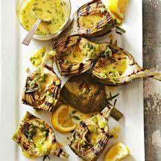 Grilled Artichokes with Tarragon Drizzle from bhg.com