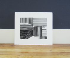 Etching Print . Geometric Art in Black and White :  by ElviaPerrin