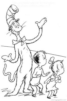 Dr. Seuss Coloring Pages Fun Coloring Pages Cat in the