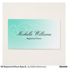 Vibrant personal assistant business card business cards business rn registered nurse aqua business cards reheart Gallery