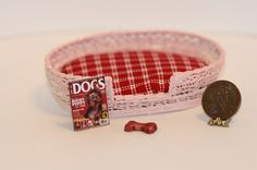 1:12 Scale Pink Wire Large Dog Bed with Red Checkered Cushion | Dollhouses and More #dog #miniatures #dollhouse #bed #dogbed