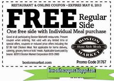 Boston Market Coupons Ends of Coupon Promo Codes MAY 2020 ! If you want a home cooked meal without effort, visit the Boston Market. Great Clips Coupons, Best Buy Coupons, Online Coupons, Pizza Coupons, Grocery Coupons, Shopping Coupons, Mcdonalds Coupons, Free Printable Coupons, Free Printables