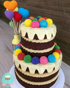 Adorable cake with rainbow colors. Cute Cakes, Yummy Cakes, Sweet Recipes, Cake Recipes, Bolos Naked Cake, Making Sweets, Amazing Cakes, Beautiful Cakes, Bolo Cake