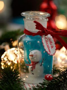 Snowman in a bottle, this is super cute