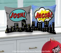 ███████████  THIS LISTING IS FOR A SUPERHERO THROW PILLOW COVER  14x14, 16x16, 18x18 or 20x20 SIZES PERSONALIZED WITH YOUR CHILDS NAME EACH PILLOW COVER/NAME IS SOLD SEPARATELY  CHOOSE FROM:  * BLUE * GRAY  Inspired by your favorite Superhero comic phrases these bold and colorful designs will put some SHAZAM into your childs bedroom, play room, or nursery. To keep product and shipping costs down and save you money, this listing is for the pillow cover only, without insert. You can purcha...
