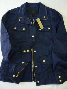 J Crew Relaxed Boyfriend Field Jacket Resin Coated Cotton Blue