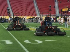 Toro Reelmasters in formation, preparing the field for Super Bowl 50