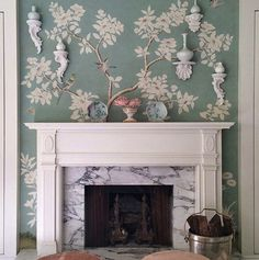 Fireplace vignette wrapped up in my favorite Gracie paper in... - The Foo Dog Ate My Homework