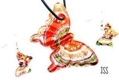 Orange Red Butterfly Lampwork Glass Jewelry Set