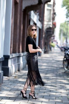 A shimmy-worthy leather fringe skirt by @tamaramellon #tamaramellon #buynowwearnow - afterDRK