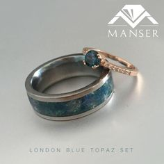 His: Titanium and crushed London blue topaz. Hers: Rose gold and London blue topaz His And Hers Rings, Blue Topaz Ring, London Blue Topaz, Teal Blue, Cuff Bracelets, Wedding Rings, Rose Gold, Engagement Rings, Jewels