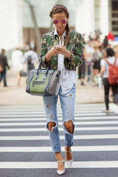 Blouse, cropped jacket and jeans.