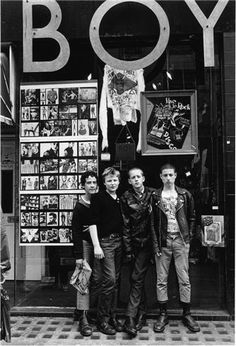 Punks, London, 1979  © JANETTE BECKMAN, 2007  Punks and skinheads pose in front of the famous punk closthing store Boy on the King's Road in London