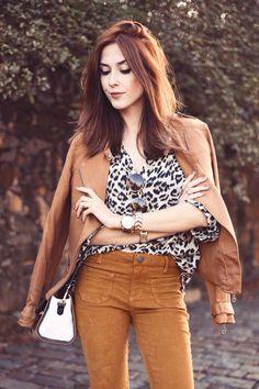 camel jacket + leopard print + flare pants!