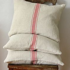 Vintage Grainsack Pillow Five Red Stripes by jillbent on Etsy, $90.00