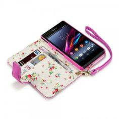 Hot Pink PU Leather Floral Case for Sony Xperia Z1 Compact