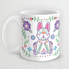 Dia de los Frenchies Coffee Mug Great gift for the pet lover! This lovable French Bulldog will surely start your day off right! This 11 oz. premium ceramic coffee mug feature wrap-around art (two side