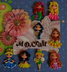 Set of Princess new look Polymer Clay Charm by KellyBowieDesign
