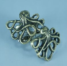 Brass Octopus Cufflinks Free Gift Bag by Cufflinked on Etsy