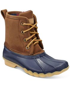 He'll be ready for splash-filled days with these stylish rubber-panelled duck boots from Tommy Hilfiger.   Rubber/faux leather upper; rubber sole   Imported   Lace-up closure    Colorblocked at strap