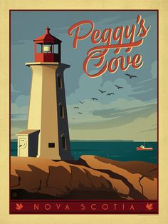 Canada: Peggy's Cove - A new print inspired by vintage travel prints from the Golden Age of Poster Design.
