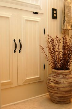 The Butlers: Bathroom Reveal Added Bead Board And Trim To Old Cabinet Doors