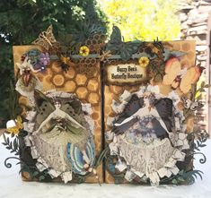Spring has sprung and I have a new project for you; Buzzy Bee's Butterfly Boutique. I've used a tall deep theatre box (made from. Butterfly Images, Butterfly Fairy, Butterfly Print, Mixed Media Tutorials, Art Tutorials, Flower Stamen, Buzzy Bee, Butterflies Flying, Crafts With Pictures