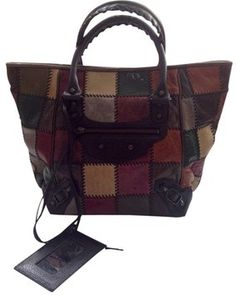 49aefeaa54721d Balenciaga Unique - Motocross Patchwork Sunday Black and Multicolor Leather  Tote 70% off retail