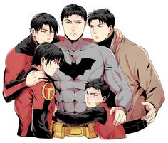 Dick is happy. Jason is slightly jealous. Tim and Damian are on the verge of fighting. Bruce is confused.