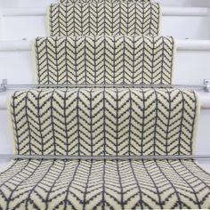 Width - Modern Cream Chevron Stair Carpet at Kukoon - UK's leading Rug Specialist. Hallway Carpet, Carpet Stairs, Bedroom Carpet, Wall Carpet, Basement Carpet, Staircase Runner, Hall Runner Rugs, Stair Runners, Rug Runners