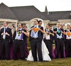 groomsmen wear different superhero shirts under their suits