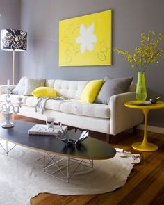 24 Neon Yellow Touches Are Ideal To Raise Your Mood And Remind Of The Summer - Home Decor & Design Living Room Yellow Accents, Living Room Grey, Home Living Room, Living Room Designs, Living Room Decor, Yellow Home Decor, Yellow Interior, Room Decor For Teen Girls, Style Deco