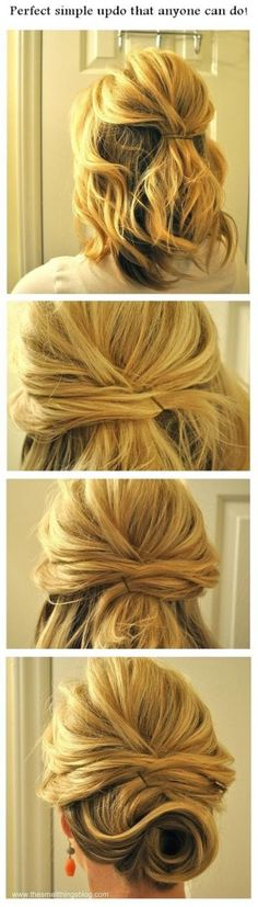Pretty and simple updo for medium to short length hair Bridesmaid? Maybe