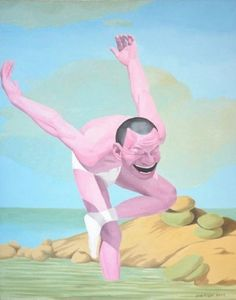by Yue Minjun (岳敏君, was born in Heilongjiang, China) Yue Minjun, Art Analysis, Chinese Painting, Painting Art, Art Chinois, Weird Dreams, Funny Art, Go Outside, Contemporary Paintings