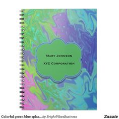 Colorful green blue splash abstract notebook