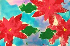 Poinsettia Flowers Art Lesson for Advent for kids - Leah Newton Art Christmas Art Projects, Projects For Kids, Crafts For Kids, Legend Of The Poinsettia, Advent For Kids, Preschool Arts And Crafts, Poinsettia Flower, Art Lessons Elementary, Holly Leaf