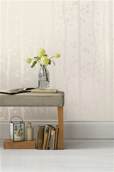 Buy Natural Trees Wallpaper from the Next UK online shop Hall. Silver Tree Wallpaper, Hall Wallpaper, Striped Wallpaper, Paint Wallpaper, Feature Wallpaper, Bedroom Wallpaper, Wallpaper Ideas, Living Room Inspiration, Home Decor Inspiration