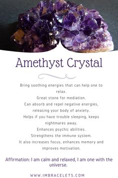 Amethyst Crystal Meaning, Crystal Meanings, Amethyst Birthstone Meaning, Amethyst Stone, Chakra Crystals, Crystals And Gemstones, Stones And Crystals, Crystal Uses, Crystal Healing Stones