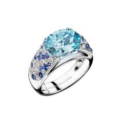 Plaisir d'Amour Ring  Plaisir d'Amour ring, 18Kt white gold, Aqua Marine (2,6 ct), sapphires and diamond pavé