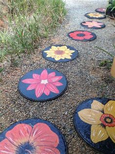 My hand painted stepping stones 3 ft by 3 ft painted stepping stones, painted pavers Painted Stepping Stones, Painted Pavers, Paver Stones, Garden Stepping Stones, Stone Walkway, Painting Concrete, Stone Painting, Stained Concrete, Garden Crafts