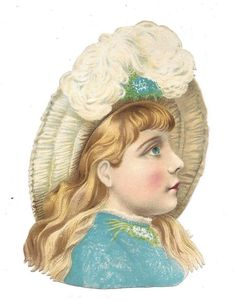 Victorian Die Cut Scrap Pretty Blue eyed girl.