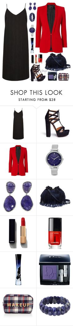 """Suiting?"" by gemique ❤ liked on Polyvore featuring River Island, Aquazzura, Barbara Bui, Nine West, Diane Von Furstenberg, Chanel, Giorgio Armani, Christian Dior, Forever 21 and NOVICA"